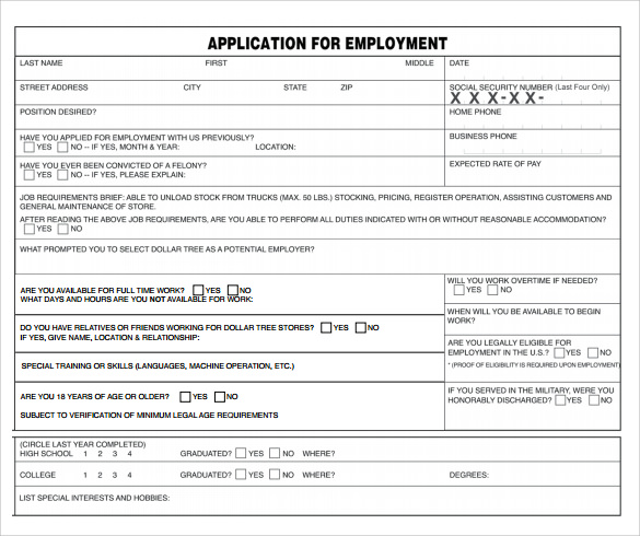 Dollar Tree Application Form   Documents Download In Pdf