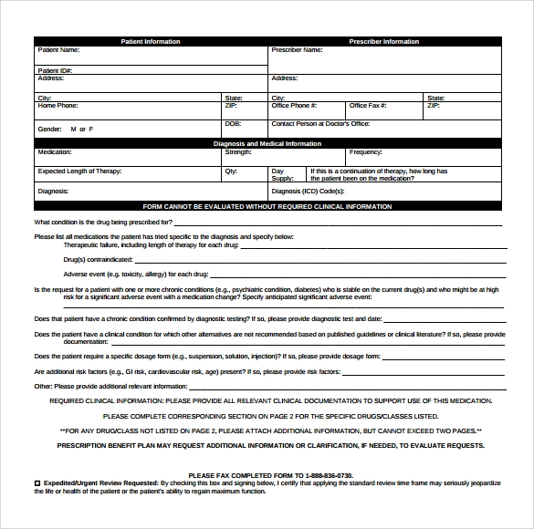 Sample Caremark Prior Authorization Form   Free Documents In Pdf