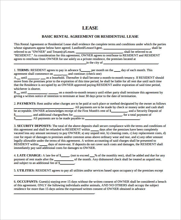 Blank Lease Agreement Templates  Free Sample Example Format