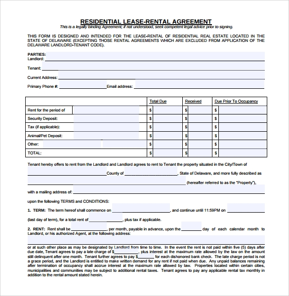 residential rental lease agreement