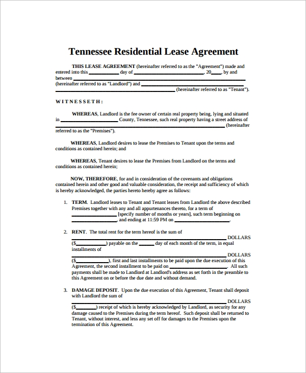 10 Sample Blank Lease Agreement Templates Sample Templates