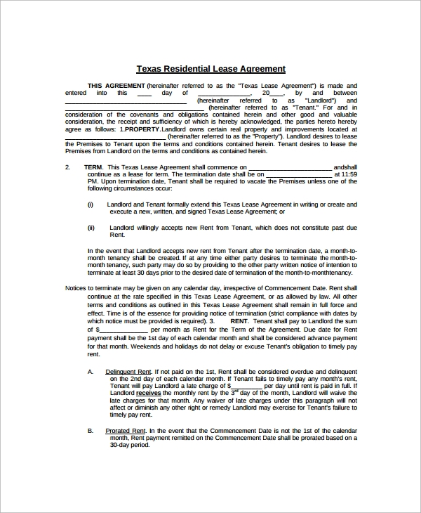 9 Blank Lease Agreement Templates Free Sample Example Format – Blank Lease Agreements