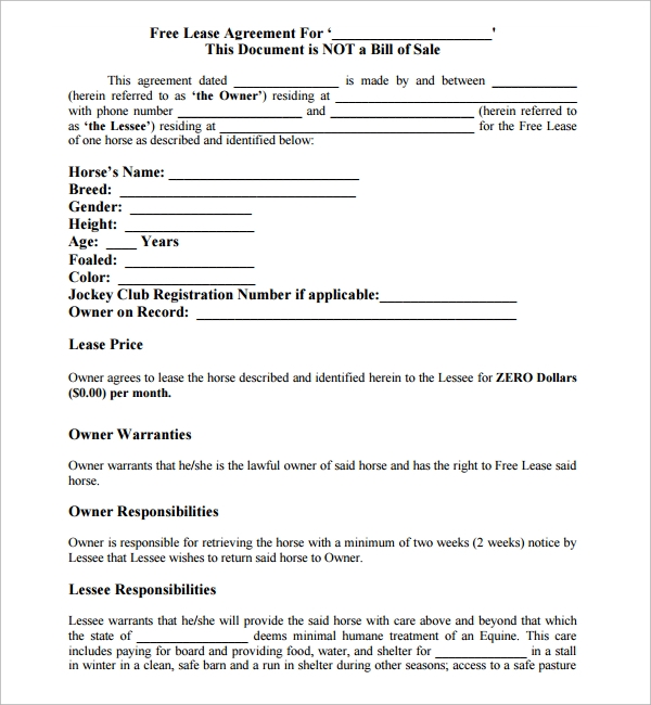 printable horse lease agreement