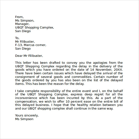 Apology Letter For Being Late - 7+ Download Free Documents In Pdf