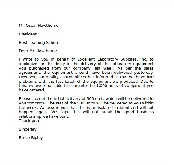 Apology Letter For Being Late   Download Free Documents In Pdf