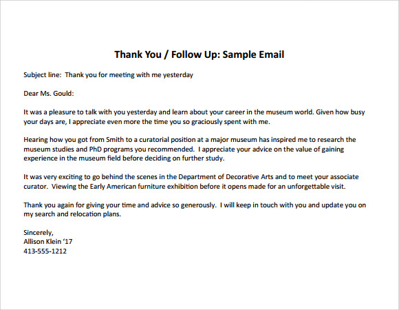 8 thank you note after interview samples sample templates for Thank you email template after meeting