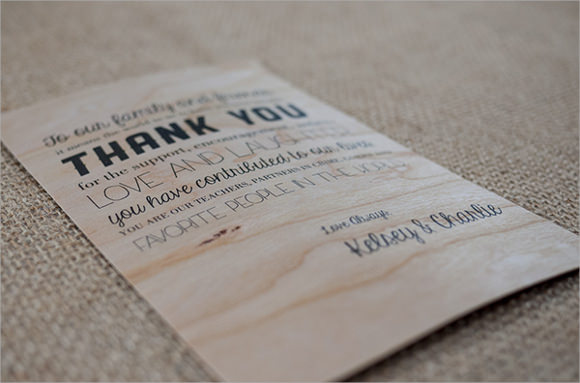 wooden thank you note template