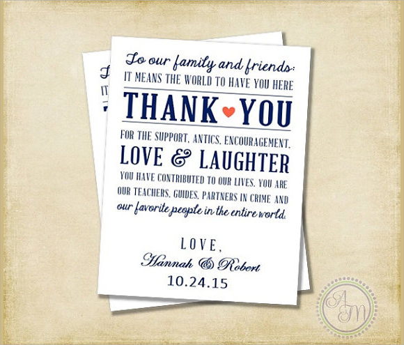 Wedding Gift Card Notes : 11+ Sample Wedding Thank You Notes - PSD, Vector EPS, PDF