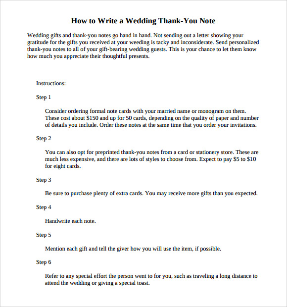 how to write thank you letter 11 sample wedding thank you notes sample templates 2429