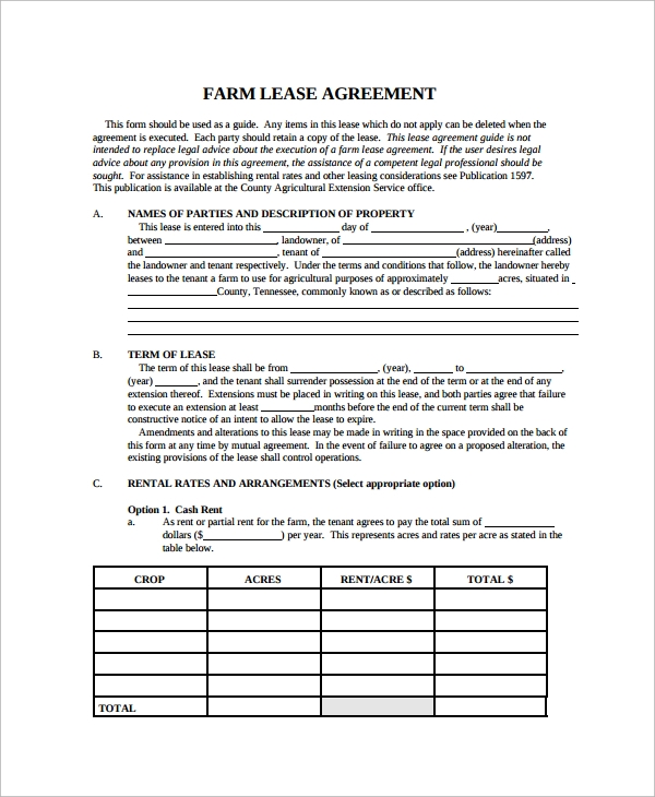 Superbe Farm Land Lease Agreement Template