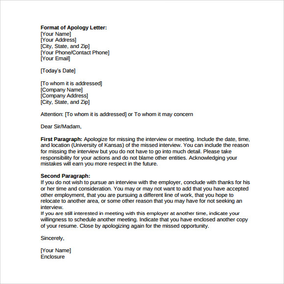 Formal apology letter template apology letter for missing interview 9 download free documents in spiritdancerdesigns Choice Image