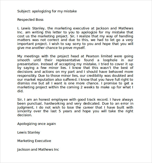 Delightful Apology Letter For Mistake At Work To Boss  Letter Of Apology To Your Boss