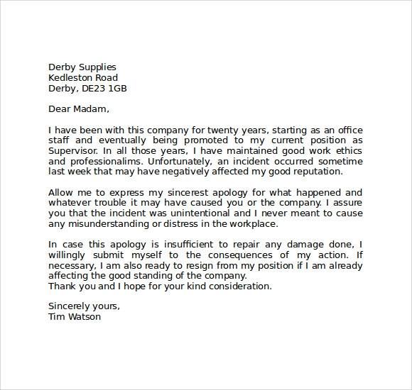 Apology Letter To Teacher Sorry Letter To Teacher Sample Sorry