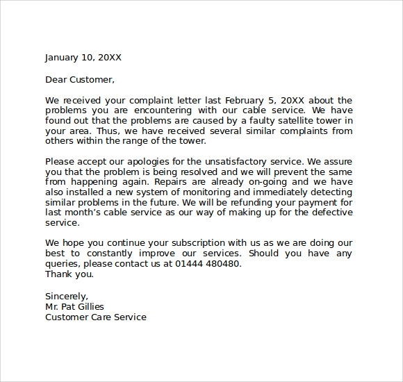Sample Of Apology Letter To Customer Apology Letter In Response To