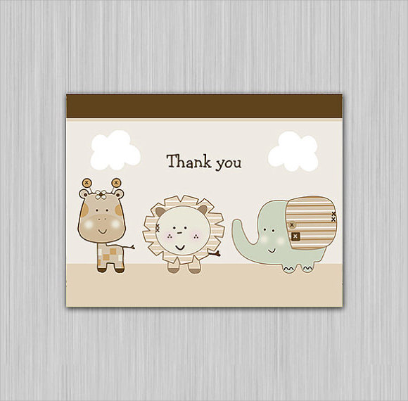 safari animals printable baby shower thank you note