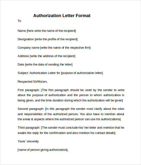 10 letter of authorization templates sample templates letter of authorization format altavistaventures Gallery