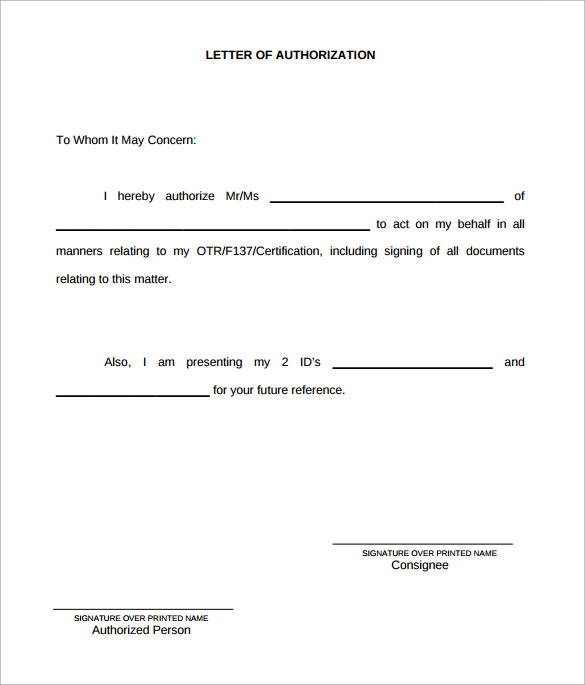 Letter Of Authorization 10 Download Free Documents In