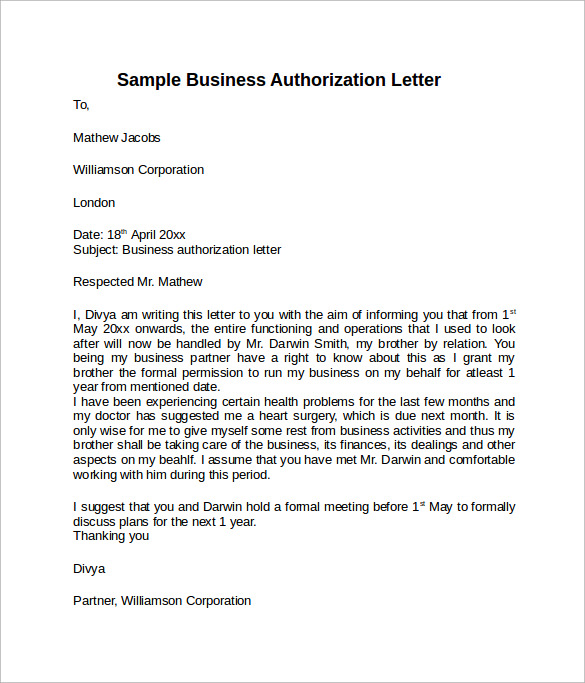 10 letter of authorization templates sample templates sample business authorization form altavistaventures Gallery