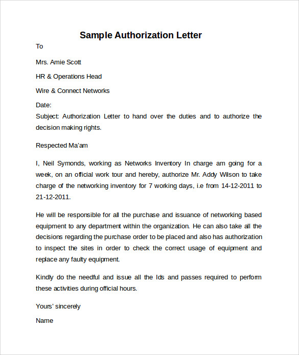 10 letter of authorization templates sample templates sample letter of authorization spiritdancerdesigns