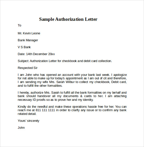 Sample Letter Of Authorization   Free Documents In Pdf Word
