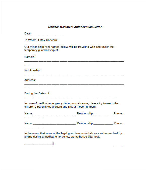 Permission Letter For Medical Treatment – Sample Medical Authorization Letter