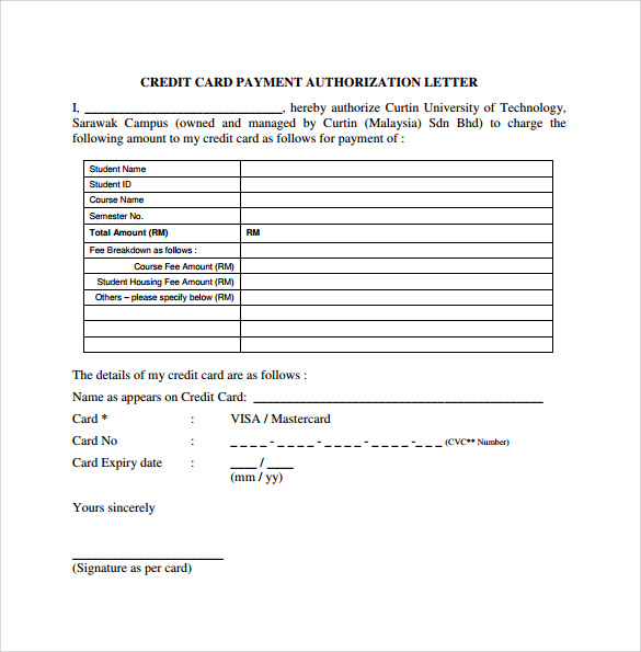 Credit Card Authorization Letter 10 Download Documents in PDF Word – Authorization Letter
