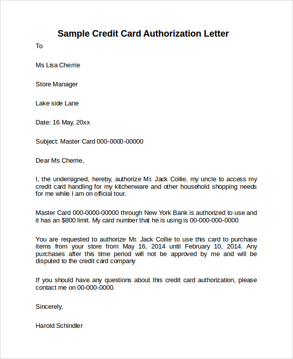 Authorization Letter To Use Credit Card from images.sampletemplates.com