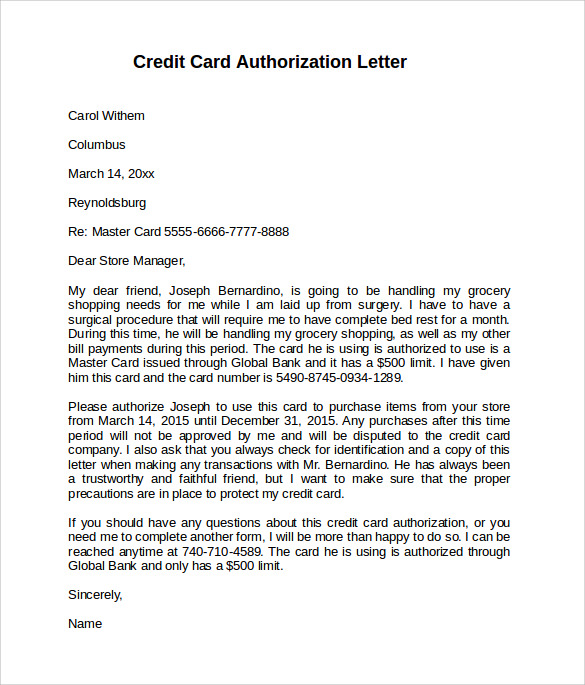 example of credit card authorization letter