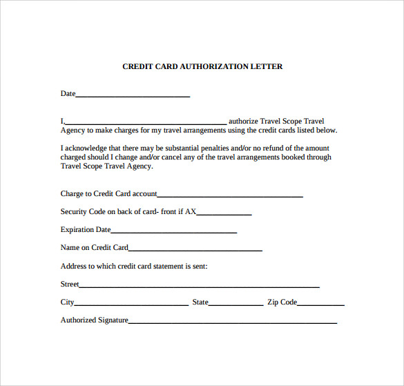 Credit Card Authorization Letter  ComingoutpolyCo