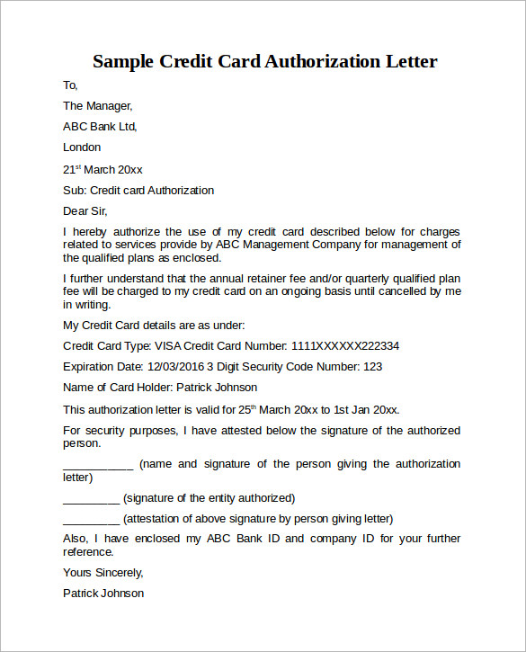 Credit Card Authorization Letter 10 Download Documents in PDF Word – Authorization Letter Sample