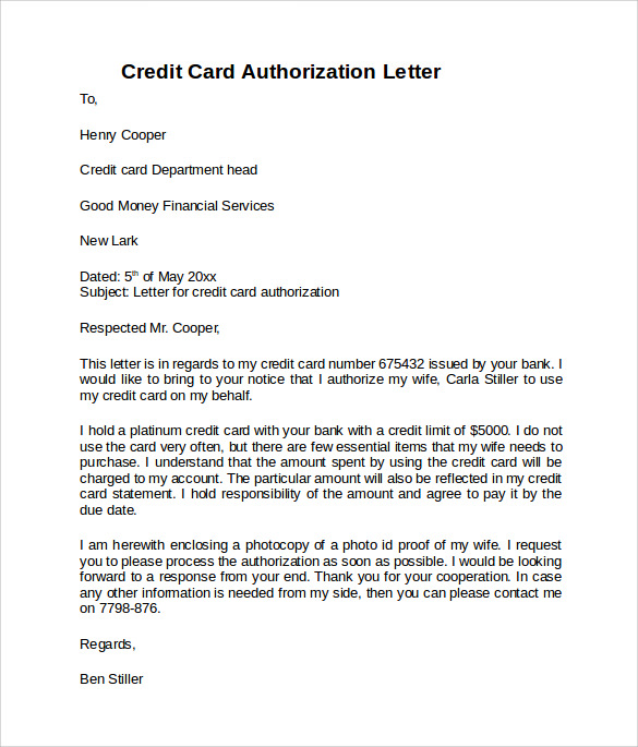 Credit Card Authorization Letter   Download Documents In Pdf Word