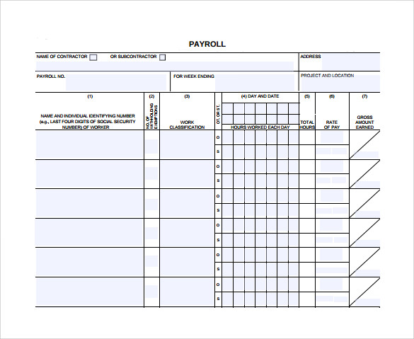 Sample Certified Payroll Form 8 Free Documents in PDF – Certified Payroll Form