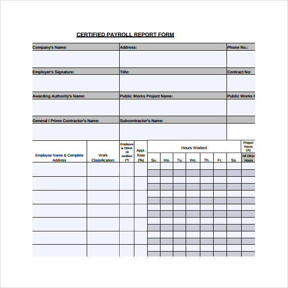 Sample Certified Payroll Form   Free Documents In Pdf