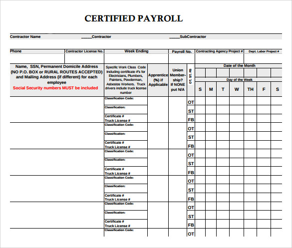 9 certified payroll forms sample templates