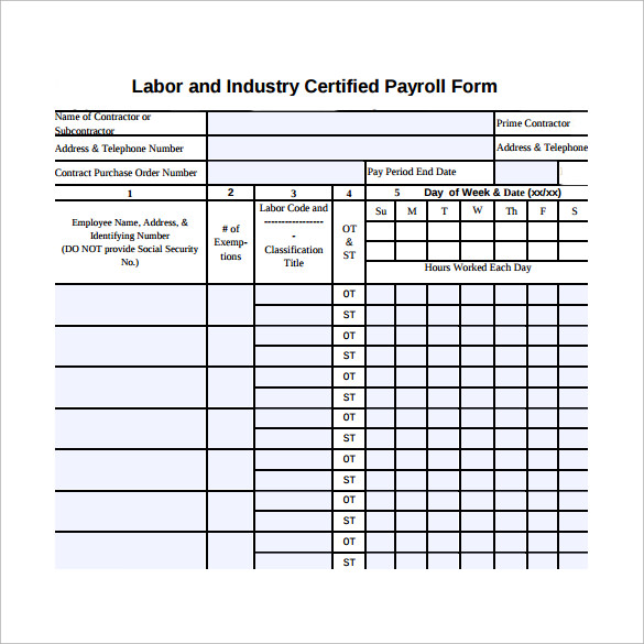 Sample Certified Payroll Form - 8+ Free Documents In Pdf