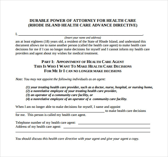 Blank Power Of Attorney Form Example