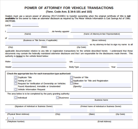Sample Blank Power of Attorney Form 10 Download Free Documents – Blank Power of Attorney Form