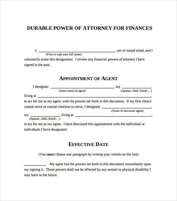 Sample Blank Power Of Attorney Form   Download Free Documents In