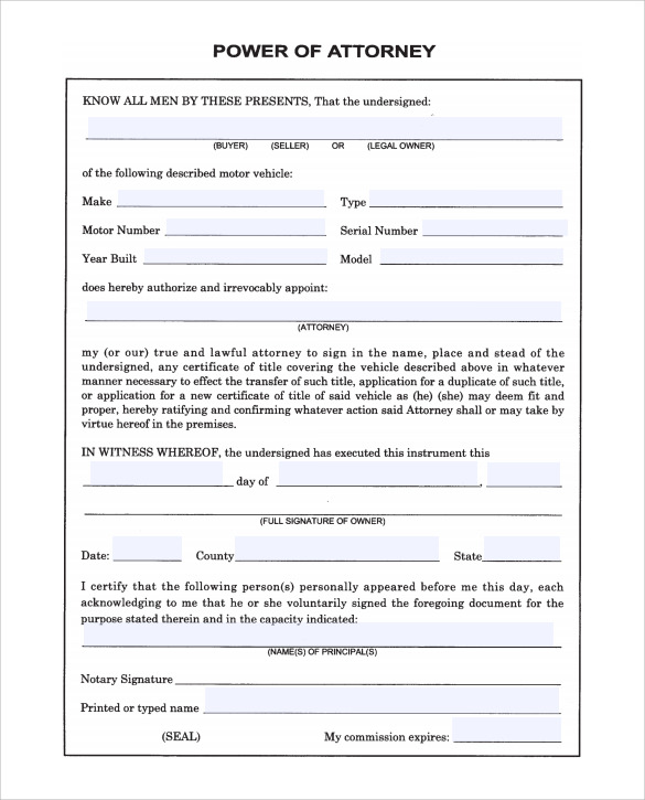 Sample Blank Power Of Attorney Form   Download Free Documents