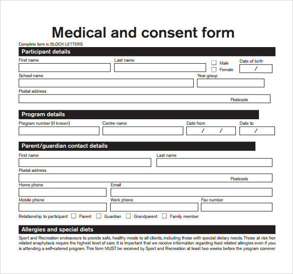 Sample Medical Consent Form Example   Download Free Documents
