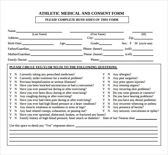 sample medical consent form example 8 download free
