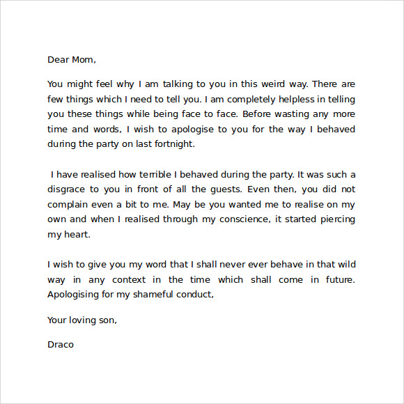 Apology Letter to Mom - 6 Download Free Documents in PDF , Word