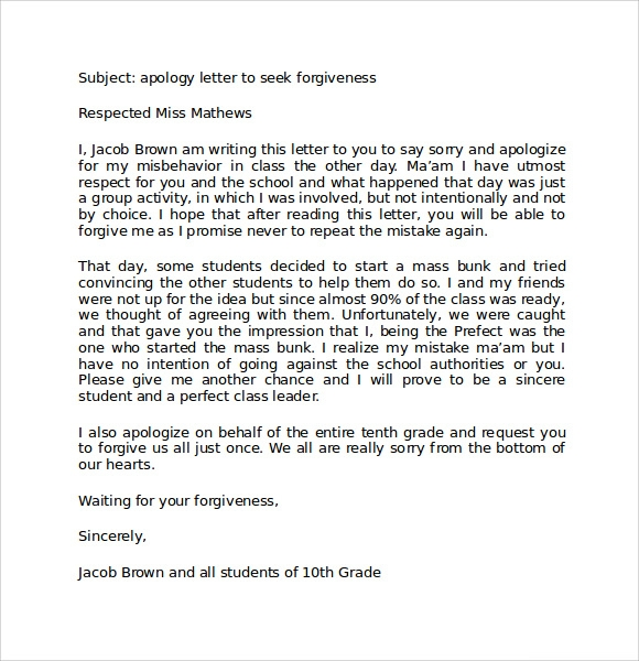 Sample Apology Letter to Teacher 8 Free Documents in PDF Word
