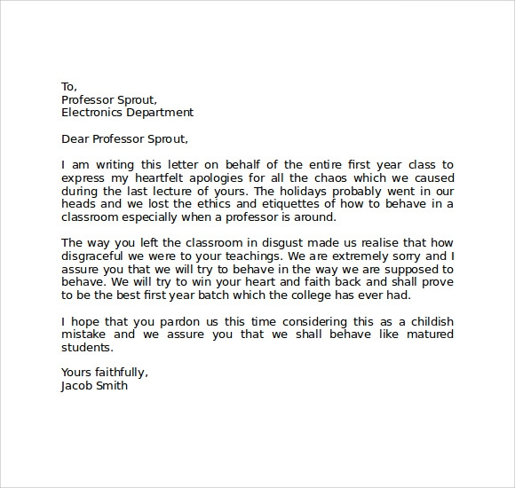 Apology Letter to School 8 Download Free Documents in PDF Word – Sample Apology Letter to Teacher