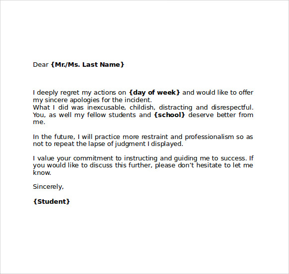 Apology Letter To School   Download Free Documents In Pdf  Word