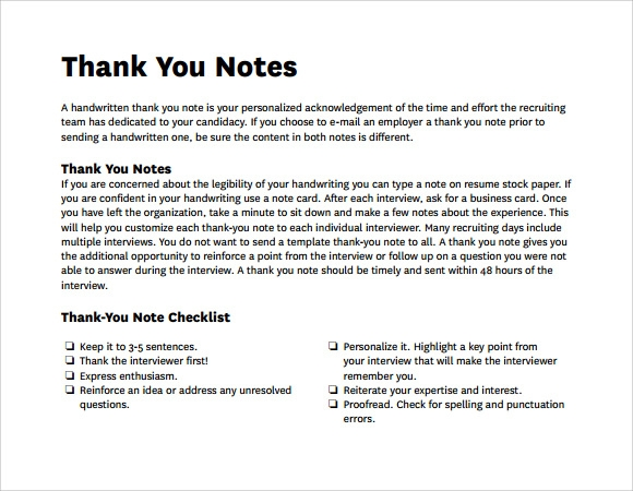 Sample Writing Thank You Notes 9 Documents In Pdf