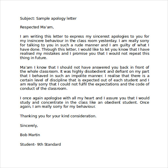Doc580500 Sample Apology Letter to Teacher Sample Apology – Sample Apology Letter to Parents