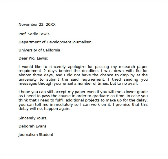 Apology Letter To Professor  CityEsporaCo