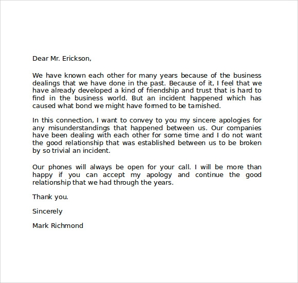 Business apology letter to boss for mistake