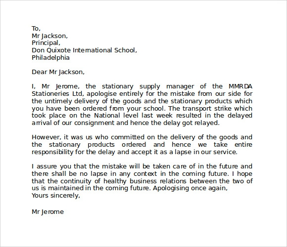 business apology letter template – Apology Letter to School